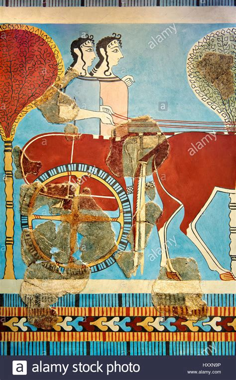 Mycenaean Fresco wall painting of a chariot from the